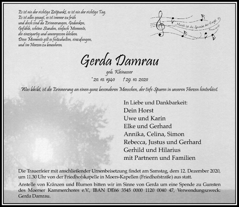 Traueranzeige für Gerda Damrau vom 07.11.2020 aus Rheinische Post
