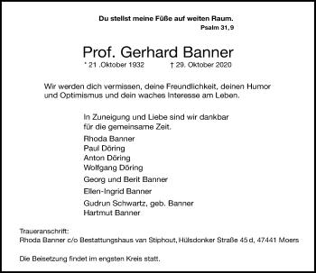 Traueranzeige von Gerhard Banner von Rheinische Post