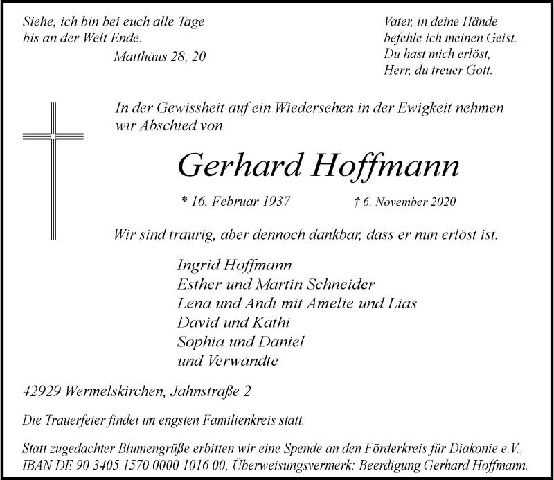 Traueranzeige für Gerhard Hoffmann vom 07.11.2020 aus Rheinische Post