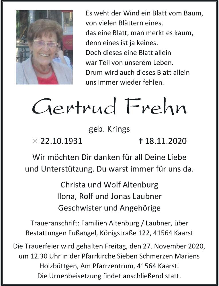 Traueranzeige für Gertrud Frehn vom 21.11.2020 aus Rheinische Post