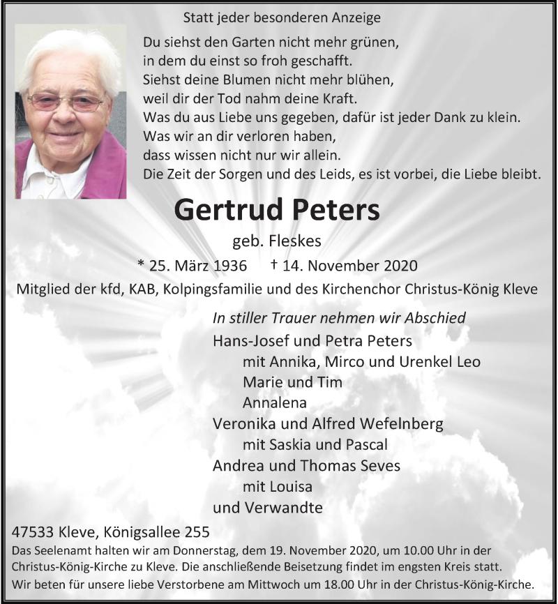 Traueranzeige für Gertrud Peters vom 17.11.2020 aus Rheinische Post