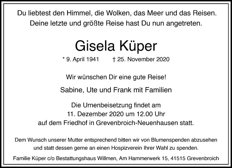 Traueranzeige für Gisela Küper vom 28.11.2020 aus Rheinische Post