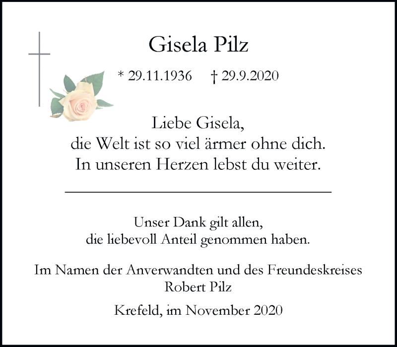 Traueranzeige für Gisela Pilz vom 28.11.2020 aus Rheinische Post