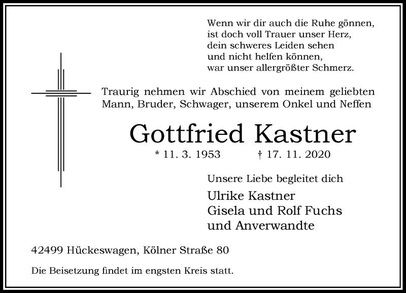 Traueranzeige für Gottfried Kastner vom 21.11.2020 aus Rheinische Post