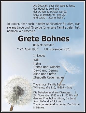 Traueranzeige von Grete Bohnes von Rheinische Post