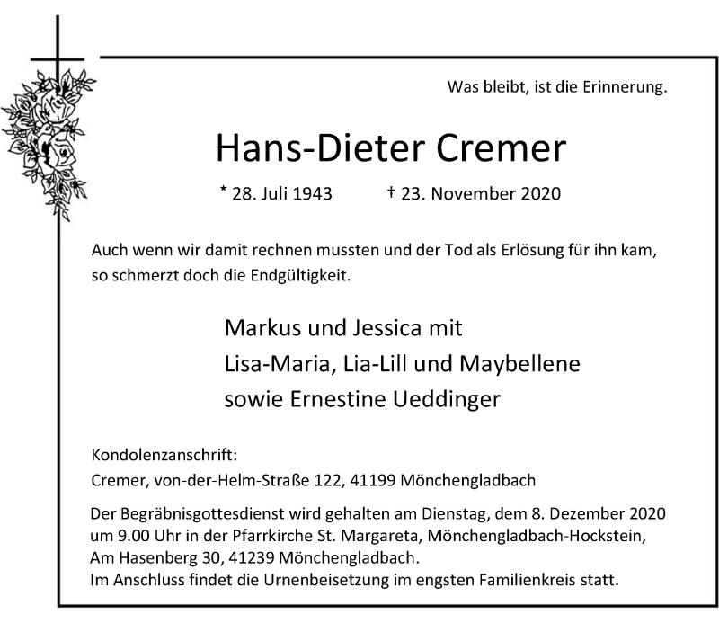 Traueranzeige für Hans-Dieter Cremer vom 28.11.2020 aus Rheinische Post