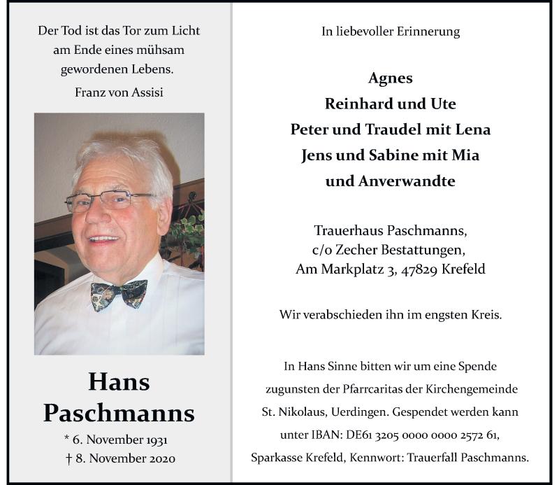 Traueranzeige für Hans Paschmanns vom 14.11.2020 aus Rheinische Post