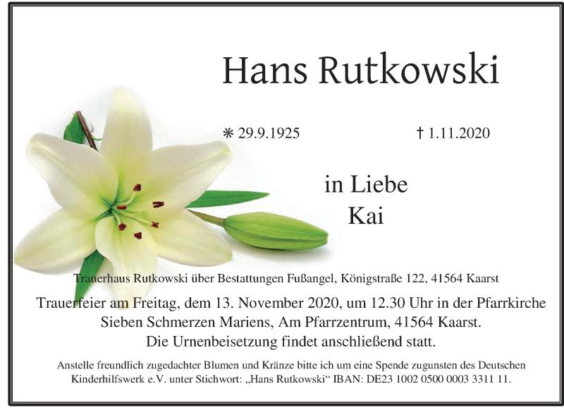 Traueranzeige für Hans Rutkowski vom 07.11.2020 aus Rheinische Post