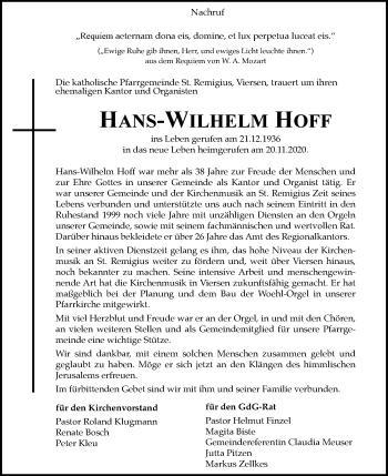Traueranzeige von Hans-Wilhelm Hoff von Rheinische Post