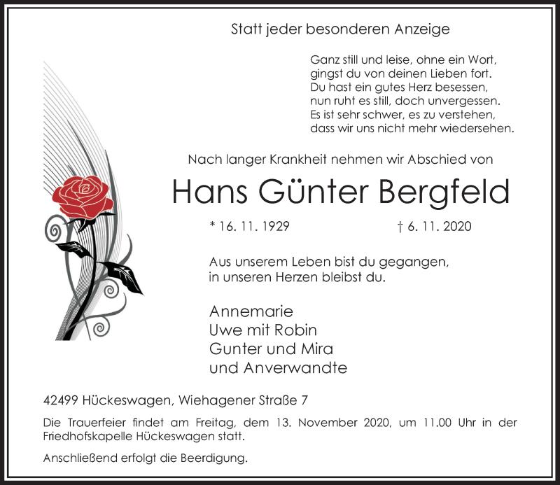 Traueranzeige für Hans Günter Bergfeld vom 11.11.2020 aus Rheinische Post