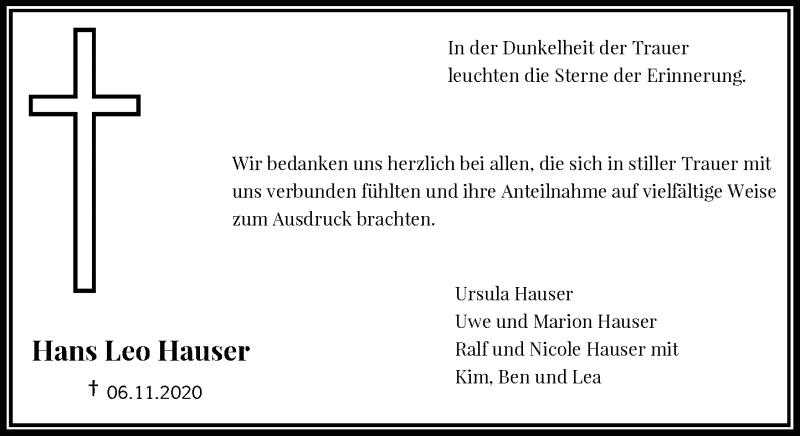 Traueranzeige für Hans Leo Hauser vom 28.11.2020 aus Rheinische Post