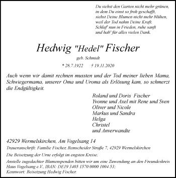 Traueranzeige von Hedwig Fischer von Rheinische Post