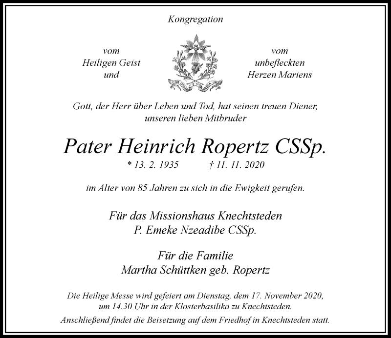 Traueranzeige für Heinrich Ropertz vom 14.11.2020 aus Rheinische Post