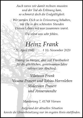 Traueranzeige von Heinz Frank von Rheinische Post