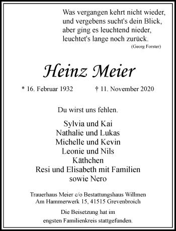 Traueranzeige von Heinz Meier von Rheinische Post