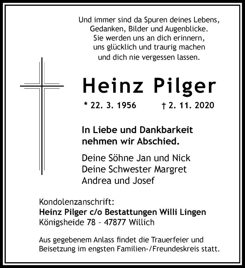 Traueranzeige für Heinz Pilger vom 14.11.2020 aus Rheinische Post