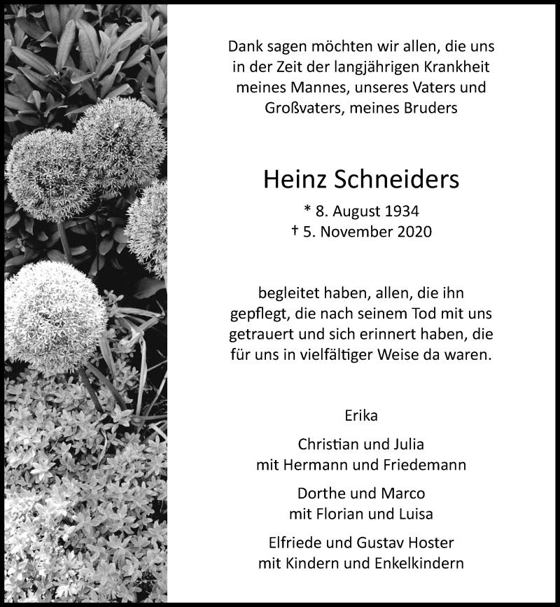 Traueranzeige für Heinz Schneiders vom 28.11.2020 aus Rheinische Post