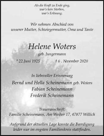 Traueranzeige von Helene Woters von Rheinische Post