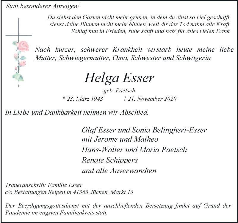 Traueranzeige für Helga Esser vom 28.11.2020 aus Rheinische Post