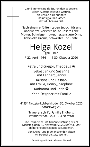 Traueranzeige von Helga Kozel von Rheinische Post