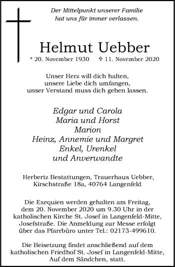 Traueranzeige von Helmut Uebber von Rheinische Post
