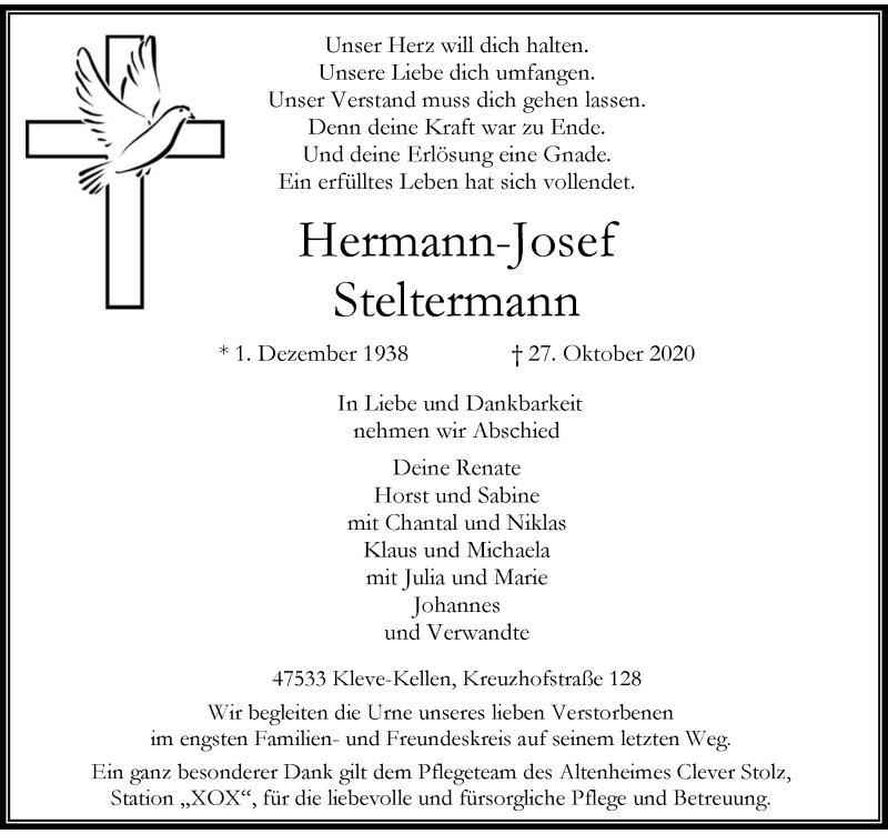 Traueranzeige für Hermann-Josef Steltermann vom 07.11.2020 aus Rheinische Post