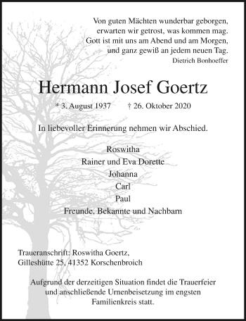 Traueranzeige von Hermann Josef Goertz von Rheinische Post