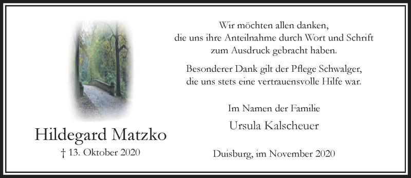 Traueranzeige für Hildegard Matzko vom 21.11.2020 aus Rheinische Post