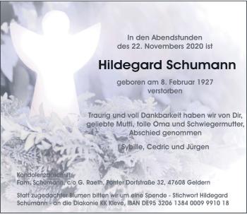 Traueranzeige von Hildegard Schumann von Rheinische Post