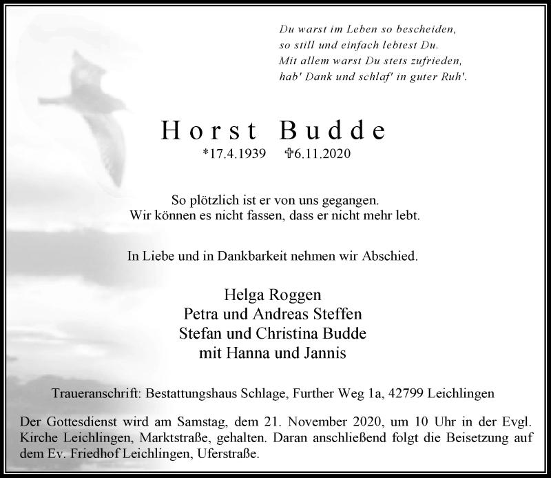 Traueranzeige für Horst Budde vom 14.11.2020 aus Rheinische Post