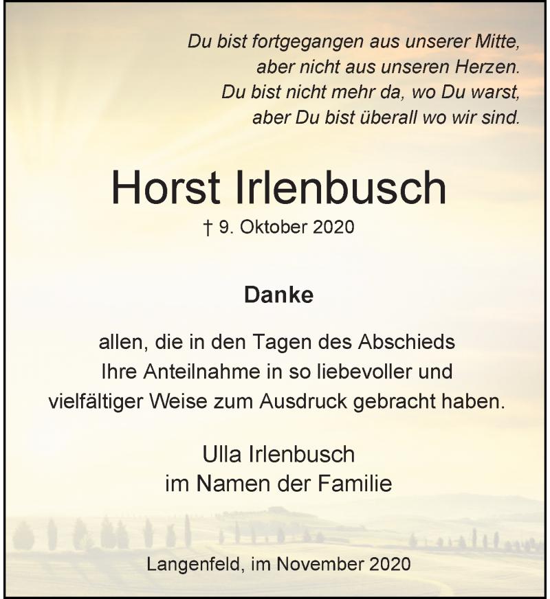 Traueranzeige für Horst Irlenbusch vom 07.11.2020 aus Rheinische Post