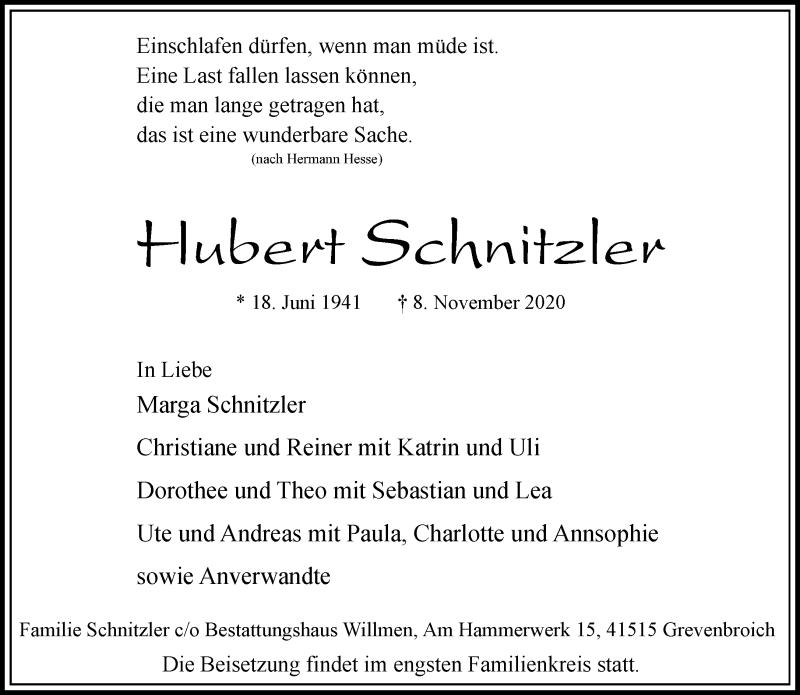 Traueranzeige für Hubert Schnitzler vom 14.11.2020 aus Rheinische Post