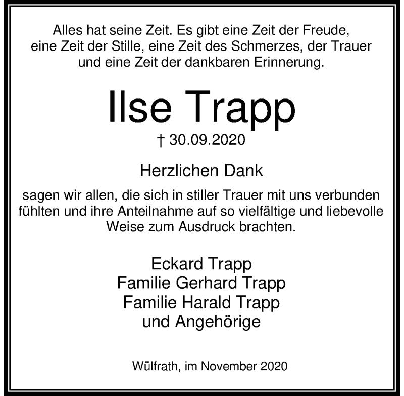 Traueranzeige für Ilse Trapp vom 07.11.2020 aus Rheinische Post