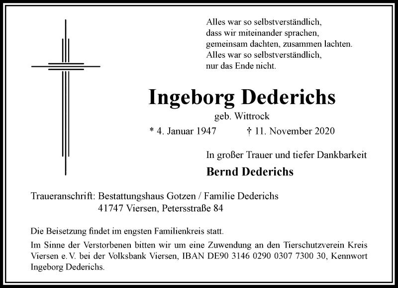Traueranzeige für Ingeborg Dederichs vom 14.11.2020 aus Rheinische Post