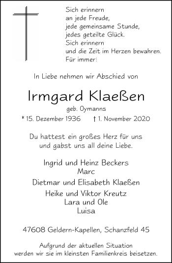 Traueranzeige von Irmgard Klaeßen von Rheinische Post