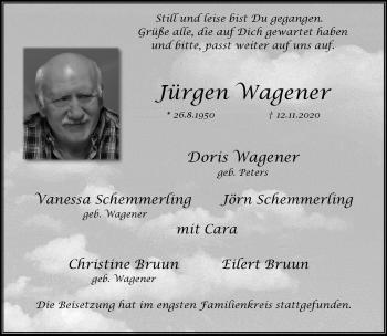 Traueranzeige von Jürgen Wagener von Rheinische Post