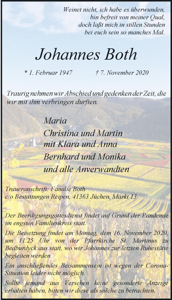 Traueranzeige für Johannes Both vom 14.11.2020 aus Rheinische Post