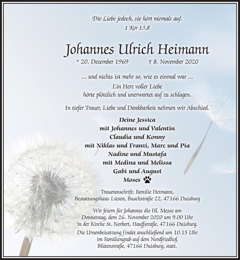 Traueranzeige für Johannes Ulrich Heimann vom 21.11.2020 aus Rheinische Post