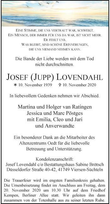 Traueranzeige von Josef Lovendahl von Rheinische Post