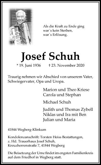 Traueranzeige von Josef Schuh von Rheinische Post