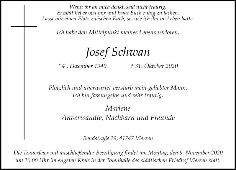 Traueranzeige für Josef Schwan vom 07.11.2020 aus Rheinische Post
