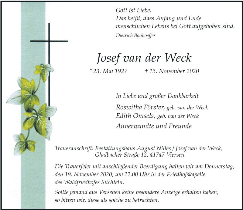 Traueranzeige für Josef van der Weck vom 17.11.2020 aus Rheinische Post
