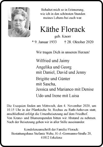 Traueranzeige von Käthe Florack von Rheinische Post