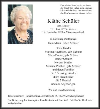 Traueranzeige von Käthe Schüler von Rheinische Post