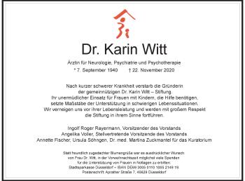 Traueranzeige von Karin Witt von Rheinische Post