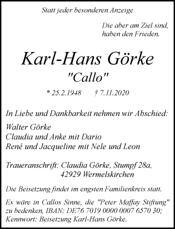 Traueranzeige von Karl-Hans Görke von Rheinische Post