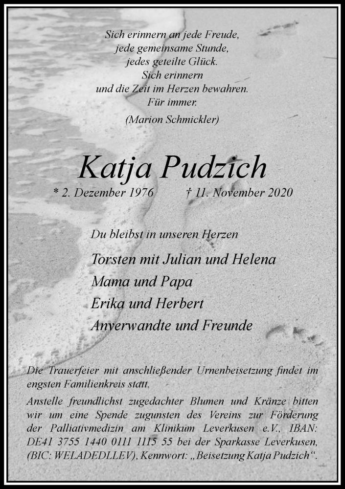Traueranzeige für Katja Pudzich vom 14.11.2020 aus Rheinische Post