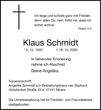 Traueranzeige von Klaus Schmidt von Rheinische Post