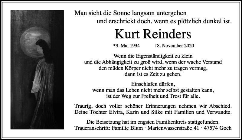Traueranzeige für Kurt Reinders vom 14.11.2020 aus Rheinische Post