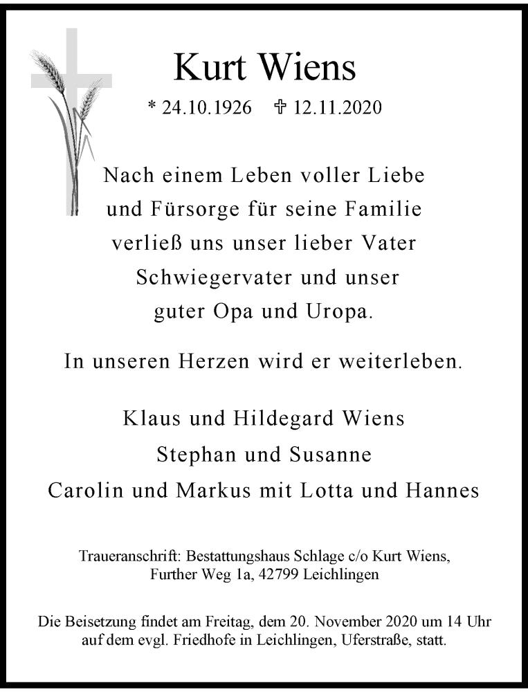 Traueranzeige für Kurt Wiens vom 18.11.2020 aus Rheinische Post